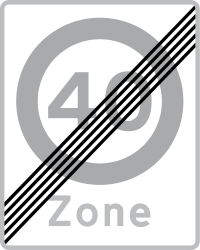Traffic sign of Denmark: End of the zone with speed limit