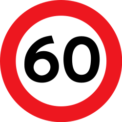 Traffic sign of Denmark: Driving faster than indicated prohibited (speed limit)
