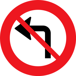 Traffic sign of Denmark: Turning left prohibited
