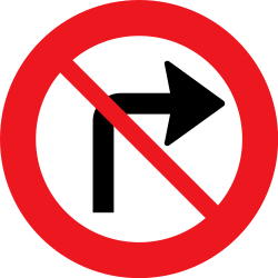 Traffic sign of Denmark: Turning right prohibited