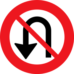 Traffic sign of Denmark: Turning around prohibited (U-turn)