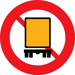 Traffic sign of Denmark: Vehicles with dangerous goods prohibited