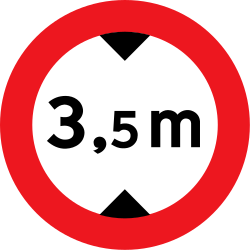 Traffic sign of Denmark: Vehicles higher than indicated prohibited