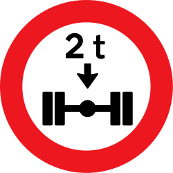 Traffic sign of Denmark: Vehicles with an axle weight heavier than indicated prohibited