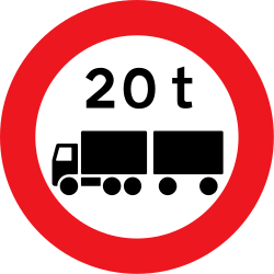 Traffic sign of Denmark: Trucks with trailer heavier than indicated prohibited