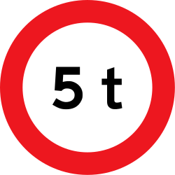 Traffic sign of Denmark: Vehicles heavier than indicated prohibited
