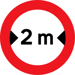 Traffic sign of Denmark: Vehicles wider than indicated prohibited