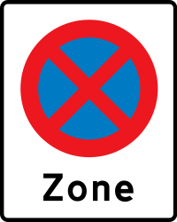 Traffic sign of Denmark: Zone parking and stopping prohibited