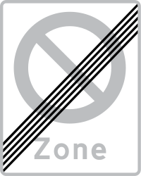 Traffic sign of Denmark: End of the zone where parking is prohibited