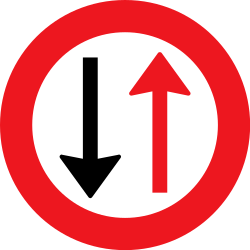 Traffic sign of Denmark: Road narrowing, give way to oncoming drivers