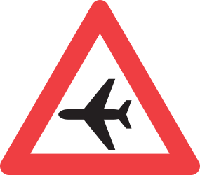 Traffic sign of Denmark: Warning for low-flying aircrafts