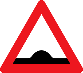 Traffic sign of Denmark: Warning for a speed bump