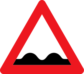 Traffic sign of Denmark: Warning for a bad road surface