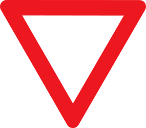 Traffic sign of Denmark: Give way to all drivers
