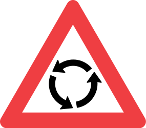 Traffic sign of Denmark: Warning for a roundabout