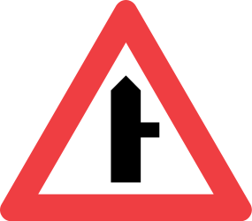 Traffic sign of Denmark: Warning for side road on the right