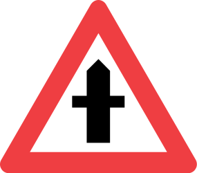 Traffic sign of Denmark: Warning for a crossroad side roads on the left and right
