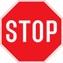 Traffic sign of Denmark: Stop and give way to all drivers