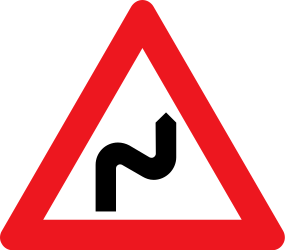 Traffic sign of Denmark: Warning for a double curve, first right then left