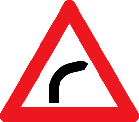 Traffic sign of Denmark: Warning for a curve to the right