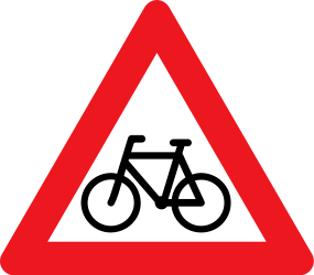 Traffic sign of Denmark: Warning for cyclists