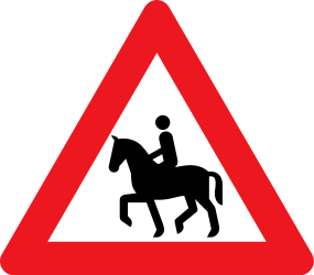 Traffic sign of Denmark: Warning for <a href='/en/denmark/overview/equestrian'>equestrians</a>