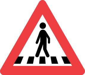 Traffic sign of Denmark: Warning for a crossing for pedestrians