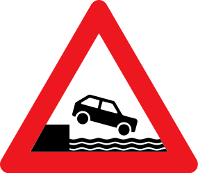 Traffic sign of Denmark: Warning for a quayside or riverbank