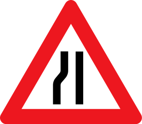 Traffic sign of Denmark: Warning for a road narrowing on the left