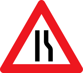 Traffic sign of Denmark: Warning for a road narrowing on the right