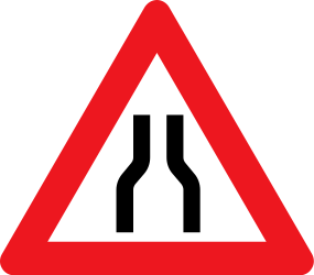 Traffic sign of Denmark: Warning for a road narrowing