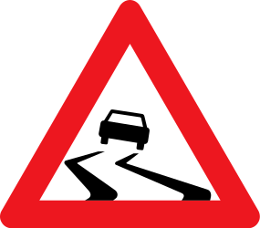 Traffic sign of Denmark: Warning for a slippery road surface