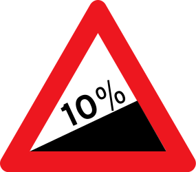 Traffic sign of Denmark: Warning for a steep ascent