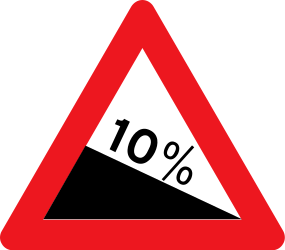 Traffic sign of Denmark: Warning for a steep descent