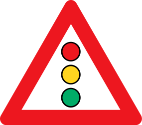 Traffic sign of Denmark: Warning for a <a href='/en/denmark/overview/traffic-lights'>traffic light</a>