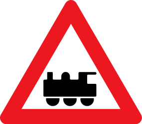 Traffic sign of Denmark: Warning for a railroad crossing without barriers