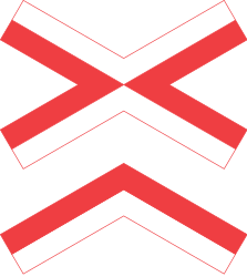 Traffic sign of Denmark: Warning for a railroad crossing with more than 1 railway