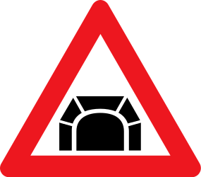 Traffic sign of Denmark: Warning for a tunnel