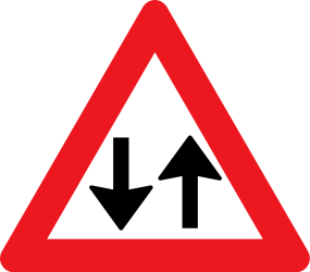 Traffic sign of Denmark: Warning for a road with two-way traffic
