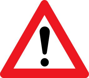 Traffic sign of Denmark: Warning for a danger with no specific traffic sign