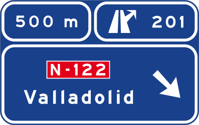 Traffic sign of Spain: Information about the next exit