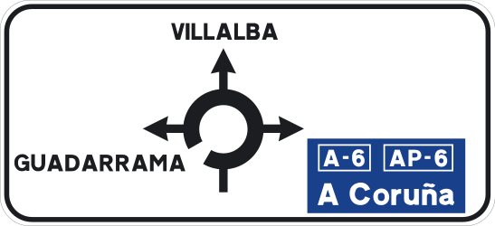 Traffic sign of Spain: Information about the directions of the roundabout
