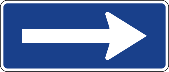 Traffic sign of Spain: Road with one-way traffic
