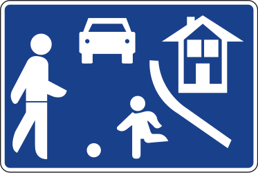 Traffic sign of Spain: Begin of a residential area