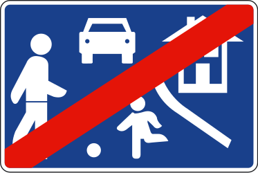 Traffic sign of Spain: End of the residential area