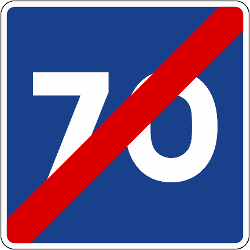 Traffic sign of Spain: End of the recommended speed
