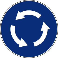 Traffic sign of Spain: Mandatory direction of the roundabout