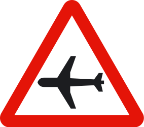 Traffic sign of Spain: Warning for low-flying aircrafts