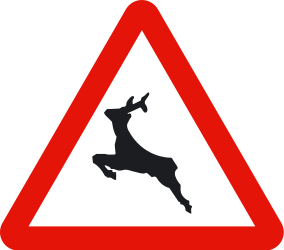 Traffic sign of Spain: Warning for crossing deer