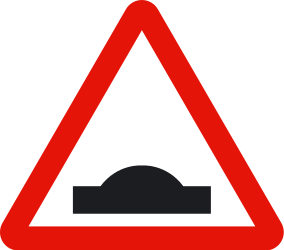 Traffic sign of Spain: Warning for a speed bump